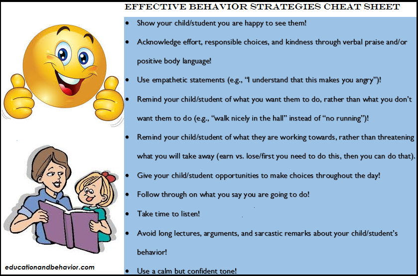 Effective Behavior Strategies Cheat Sheet ...